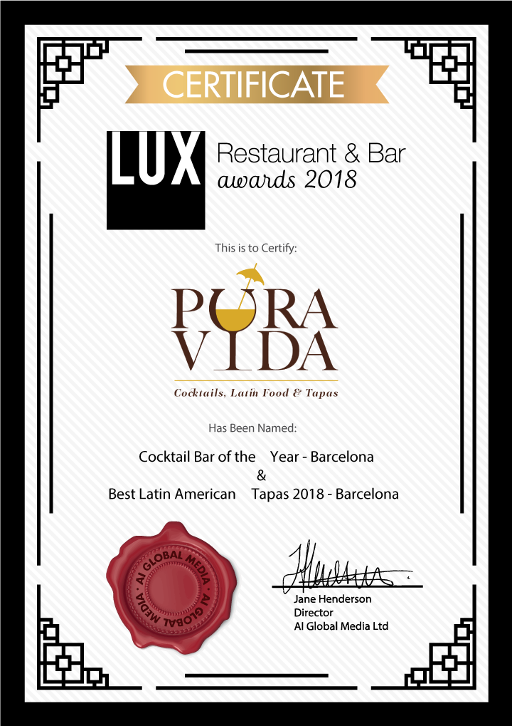 Restaurant & Bar / Awards-Certificate 2018